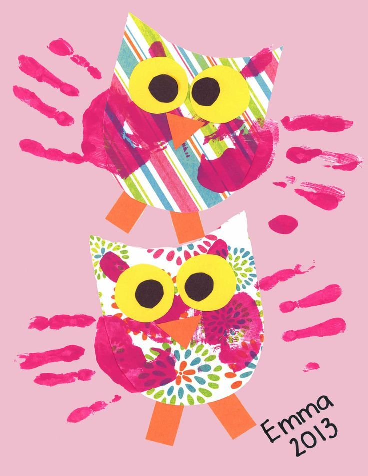 Handprint Owls | Handprint, Footprint, and Fingerprint Art | Pinterest | キッズ と Owl