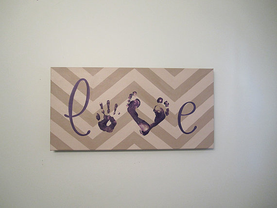 Any Color Chevron Love Handprint and Footprint by SnowFlowerArts