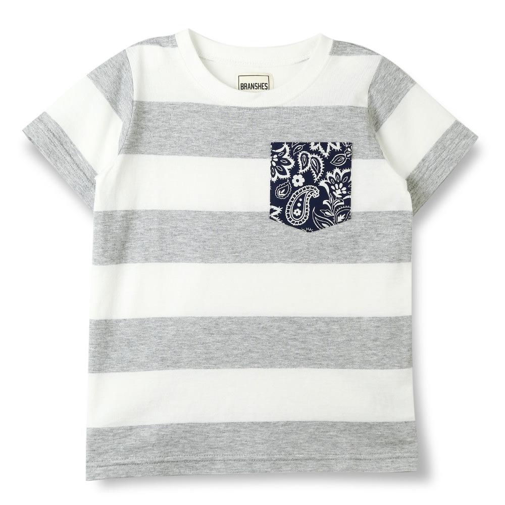 子ども服&ママの服 ブランシェス  公式オンラインショップ|ボーダーペイズリーポケットTシャツ(140cm 杢グレー): branshes