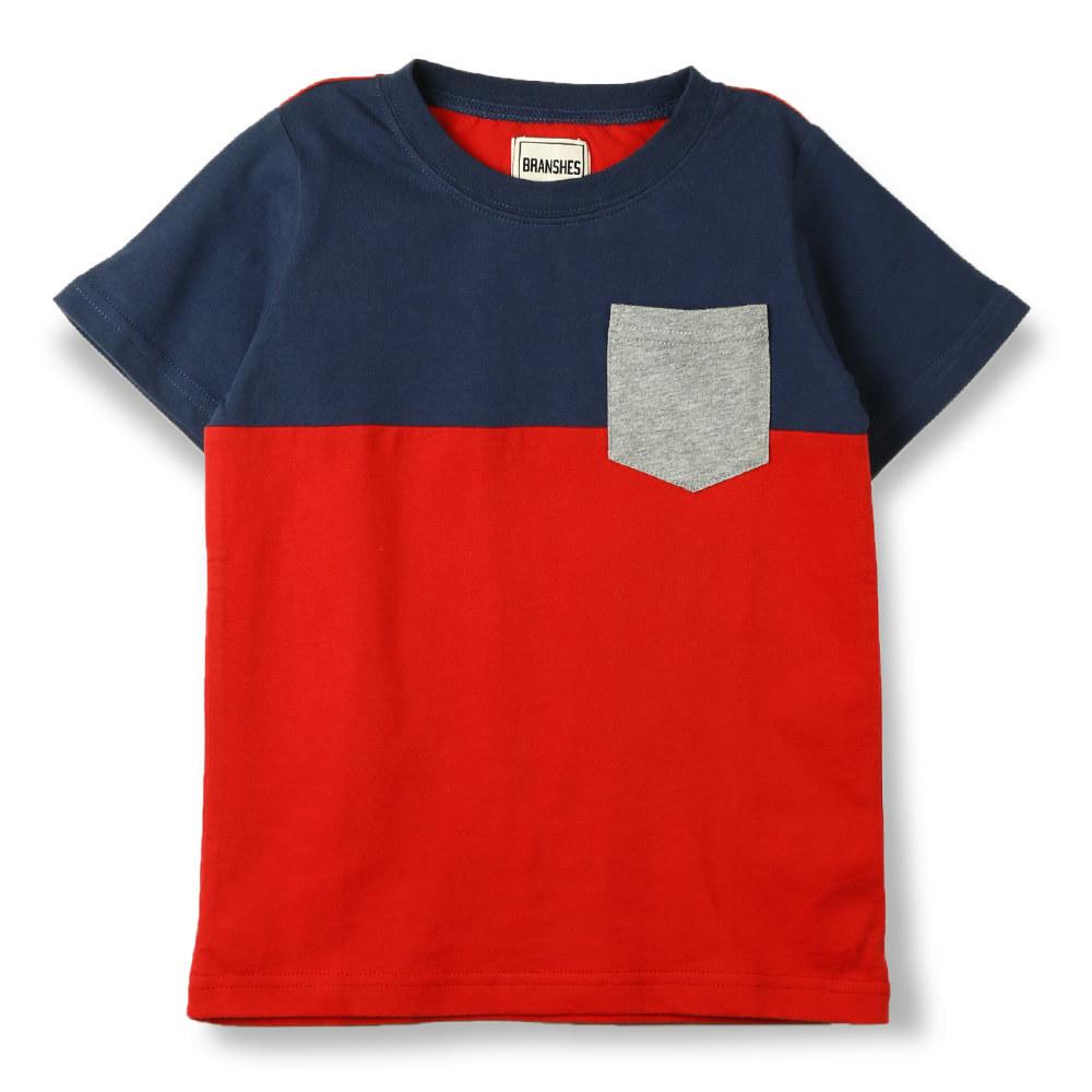 子ども服&ママの服 ブランシェス  公式オンラインショップ|切替ポケットTシャツ(140cm ネイビーブルー): branshes