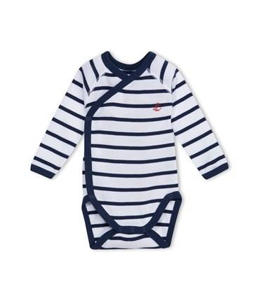 マリニエール長袖あわせボディ(G)(1ヶ月 54cm (1mois) ホワイト/ネイビー): 新生児 [PETIT BATEAU プチバトーオンラインブティック]