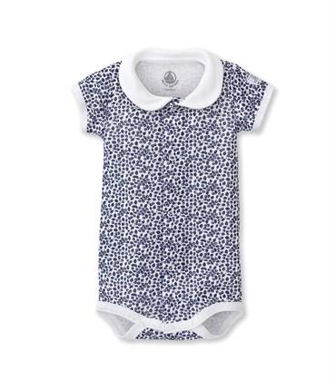 チュビックプリント衿つき半袖ボディ(12ヶ月 74cm (12mois) ホワイト/ネイビー): 新生児 [PETIT BATEAU プチバトーオンラインブティック]